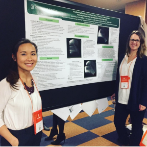 My supervisor, Erin Miller, MS, CCC-SLP, BCS-S, and I (Alisa Wang) with our poster at the poster session for the 5th Pediatric Feeding Conference. © Alexandra Munroe, 2017