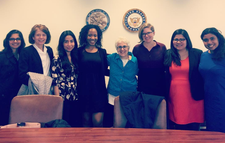 Leaders and trainees from the UIC School of Public Health, LEND Program and Maternal and Child Health Division at Illinois Senate Offices in Chicago, IL.  From left to right: Dr. Kruti Acharya, Dr. Ann Cutler, Regina Meza, Micquel Hart, Dr. Arden Handler, Kera Beskin, Cindy San Miguel, and Gayatri Sanku